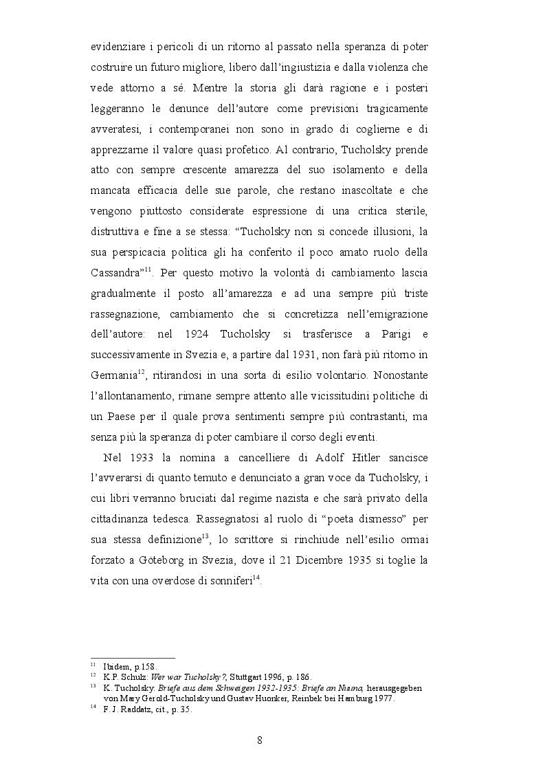 Estratto dalla tesi: La cultura ferita di un paese diviso - La diversa ricezione di Kurt Tucholsky nelle due Repubbliche tedesche durante gli anni del Muro di Berlino