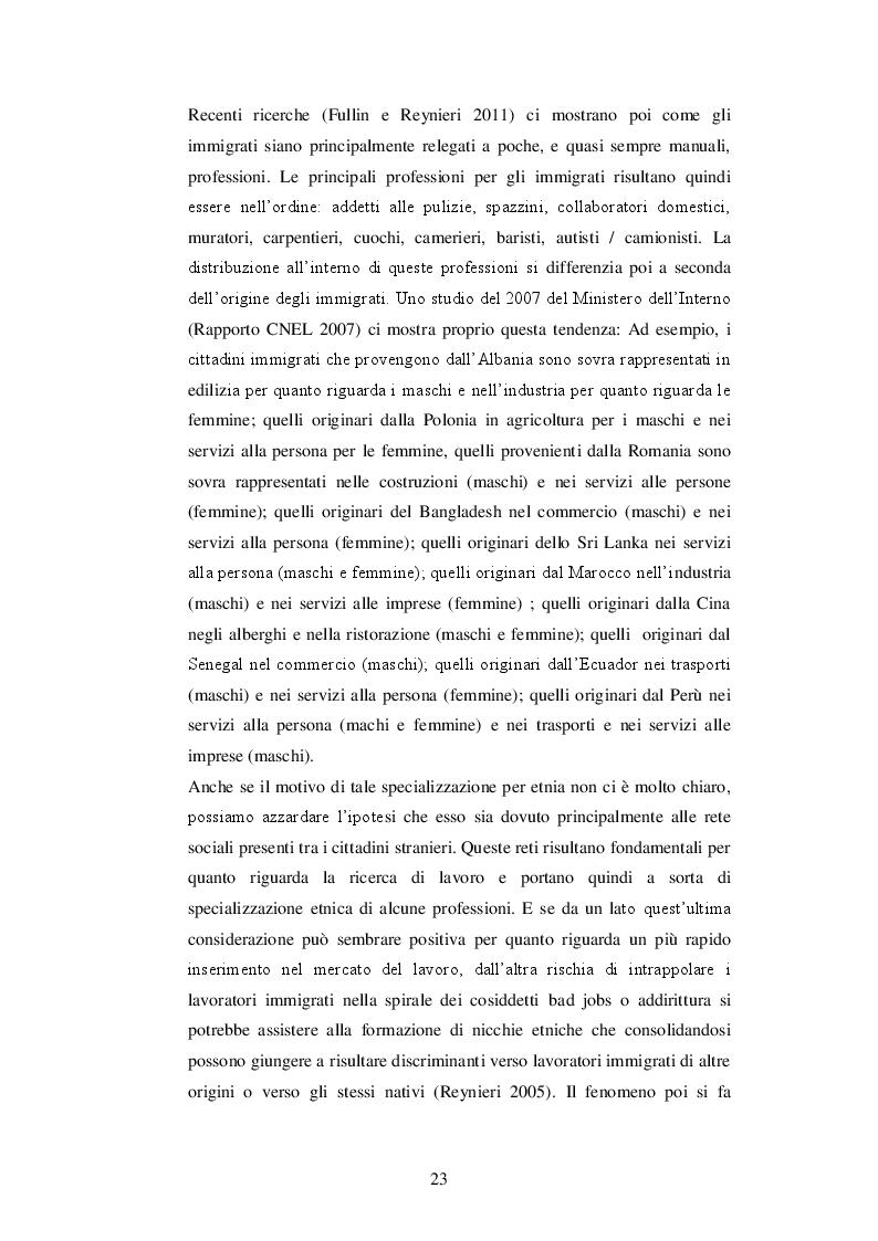 Estratto dalla tesi: Lavoratori immigrati in Italia: Il fenomeno dell'overqualification e l'esclusione dalle qualifiche più elevate