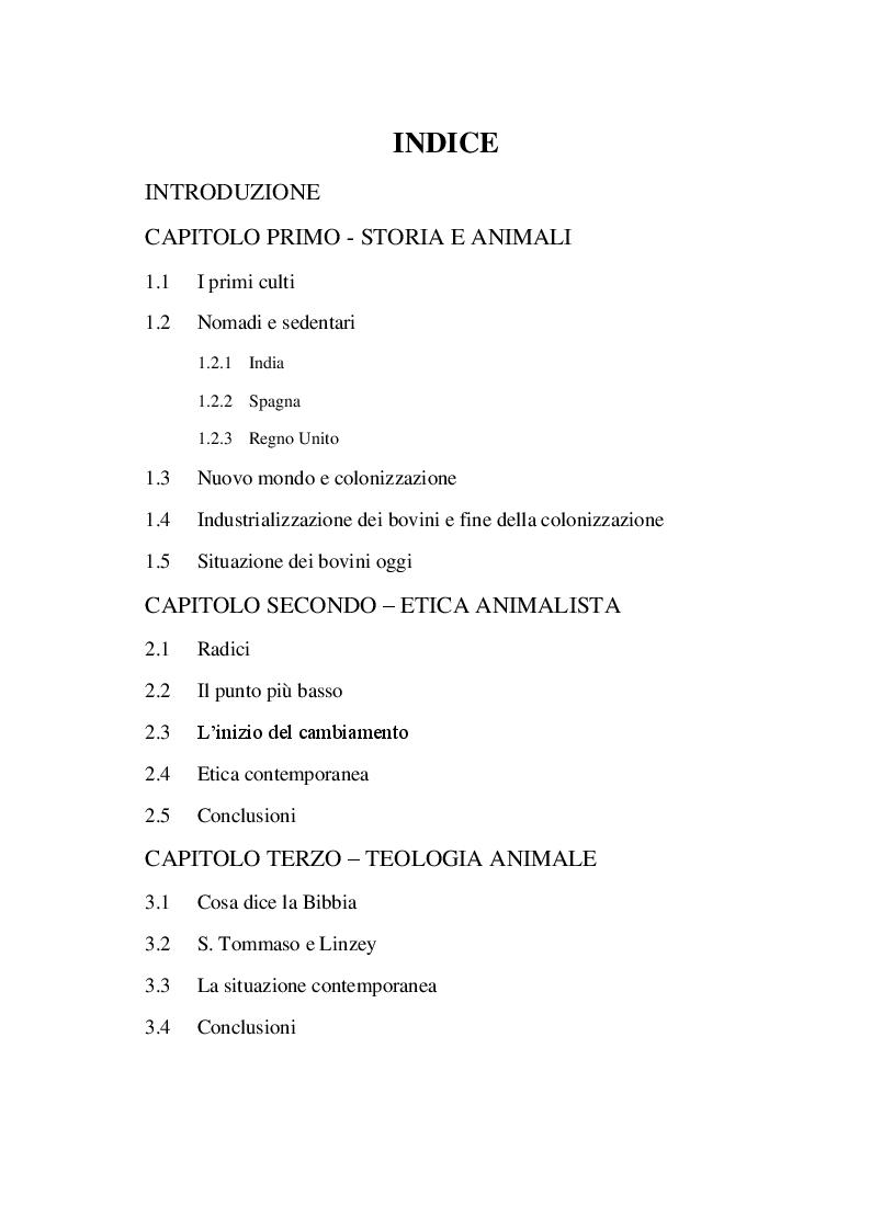 Indice della tesi: Diritti animali e implicazioni sociali, Pagina 1