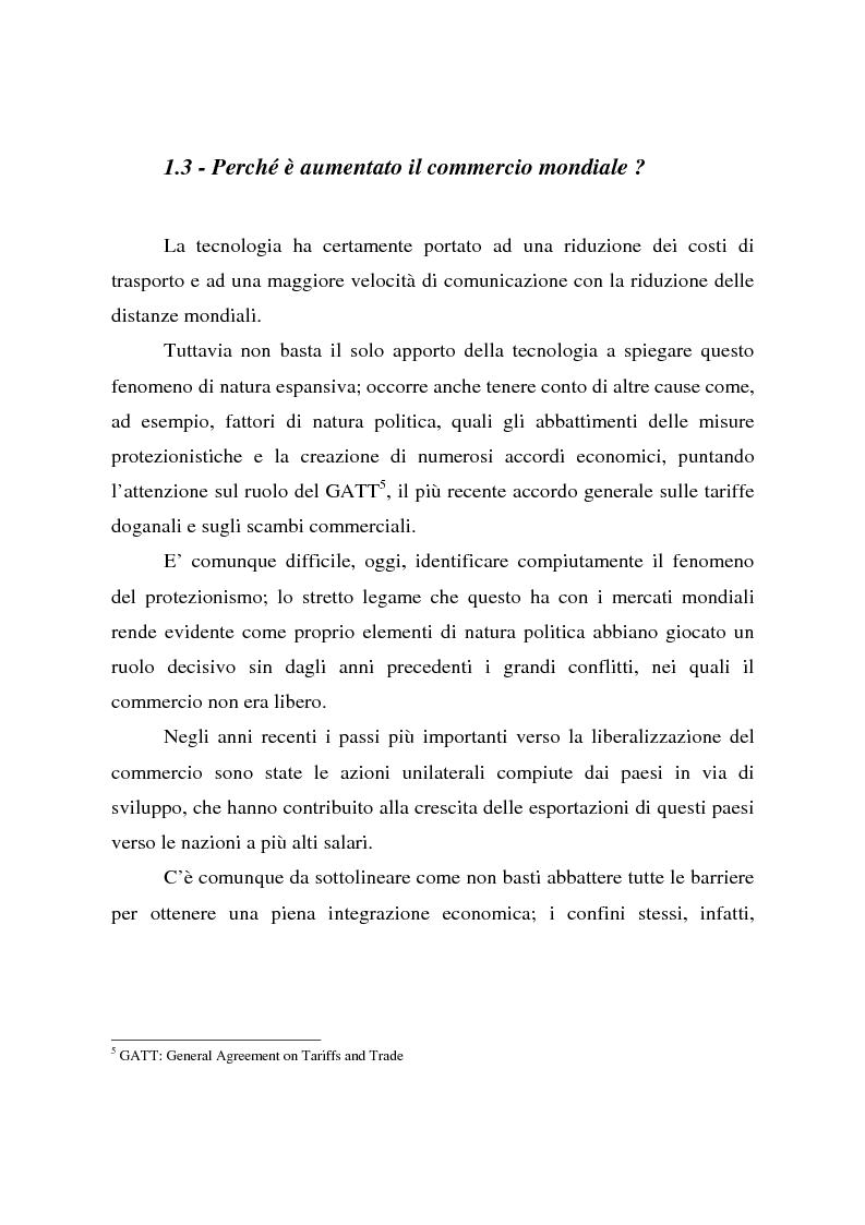 Anteprima della tesi: Effetti della globalizzazione dei mercati sul livello occupazionale dei paesi industrializzati: l'ipotesi interpretativa di Krugman, Pagina 11