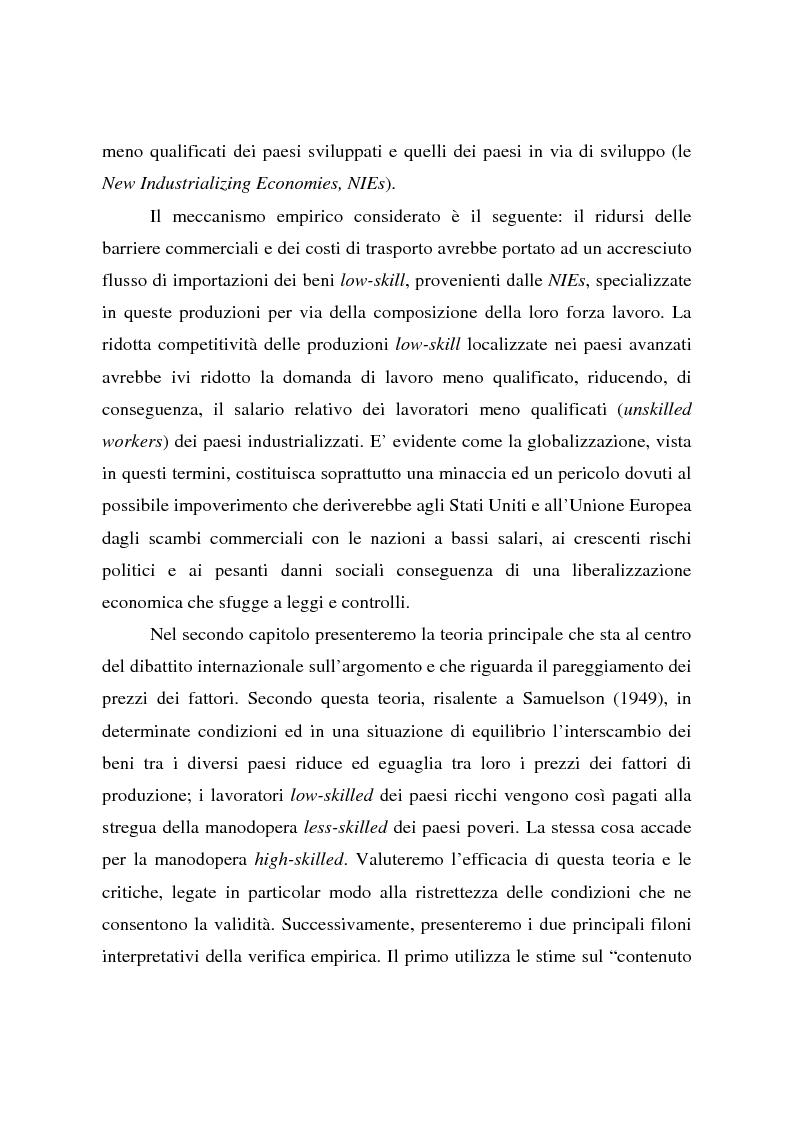 Anteprima della tesi: Effetti della globalizzazione dei mercati sul livello occupazionale dei paesi industrializzati: l'ipotesi interpretativa di Krugman, Pagina 3