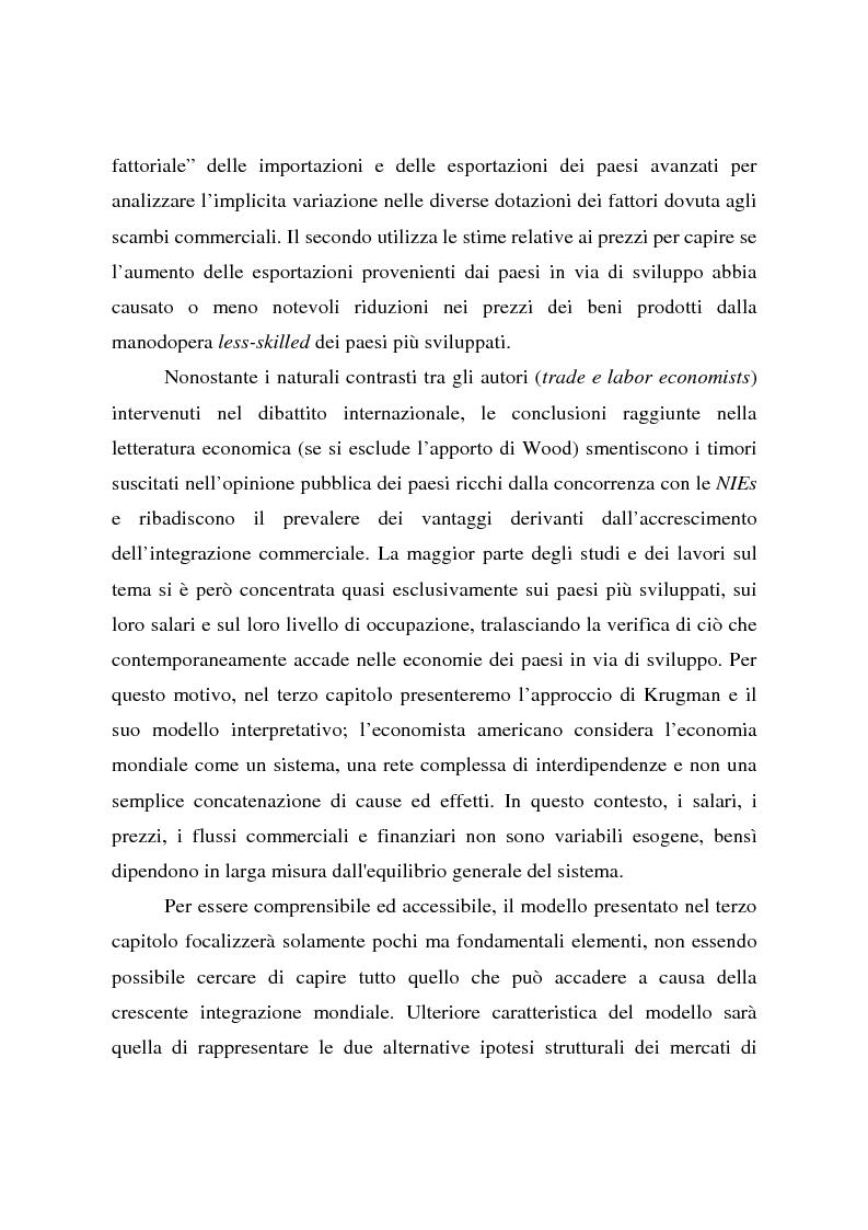 Anteprima della tesi: Effetti della globalizzazione dei mercati sul livello occupazionale dei paesi industrializzati: l'ipotesi interpretativa di Krugman, Pagina 4