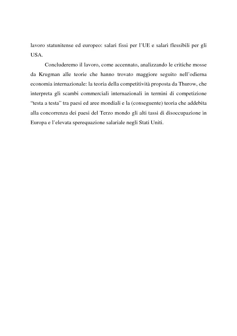 Anteprima della tesi: Effetti della globalizzazione dei mercati sul livello occupazionale dei paesi industrializzati: l'ipotesi interpretativa di Krugman, Pagina 5