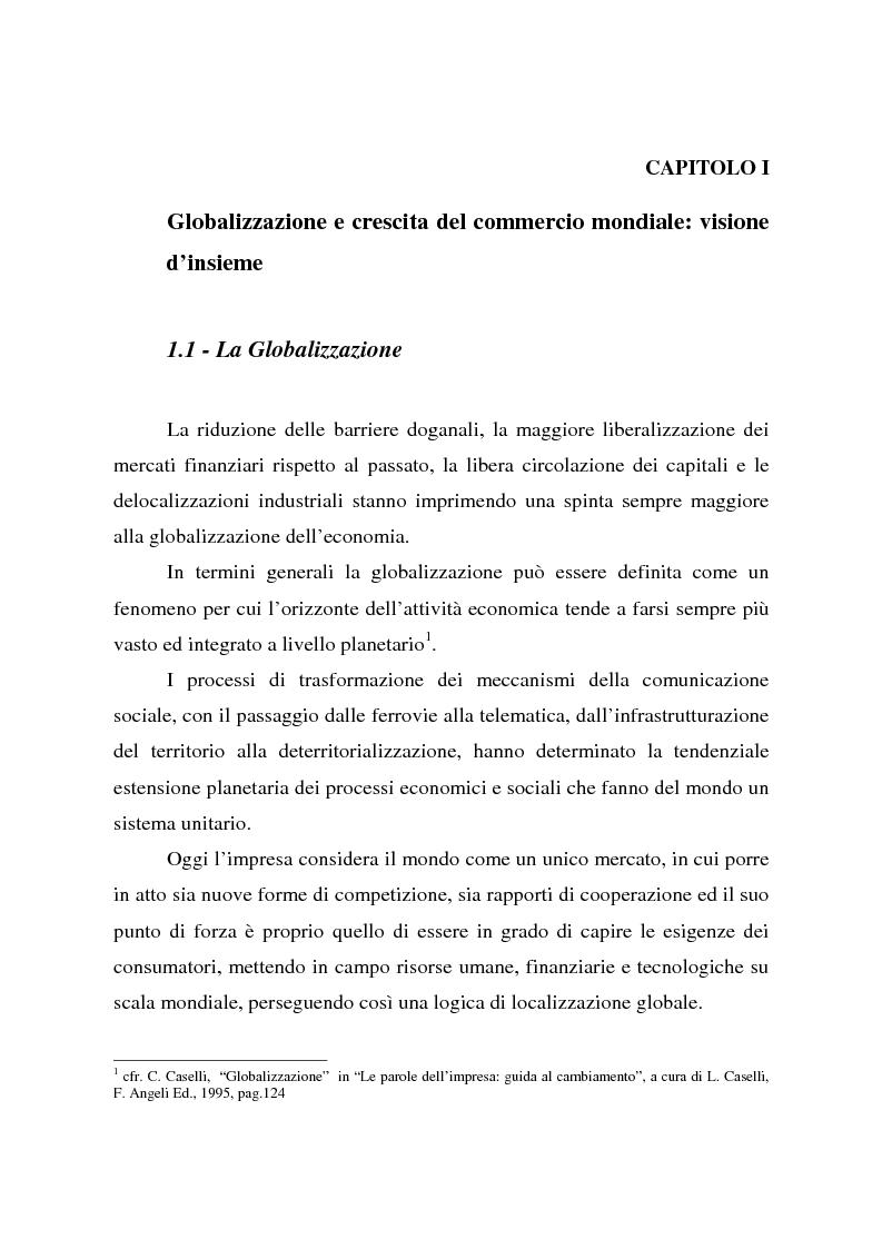 Anteprima della tesi: Effetti della globalizzazione dei mercati sul livello occupazionale dei paesi industrializzati: l'ipotesi interpretativa di Krugman, Pagina 6