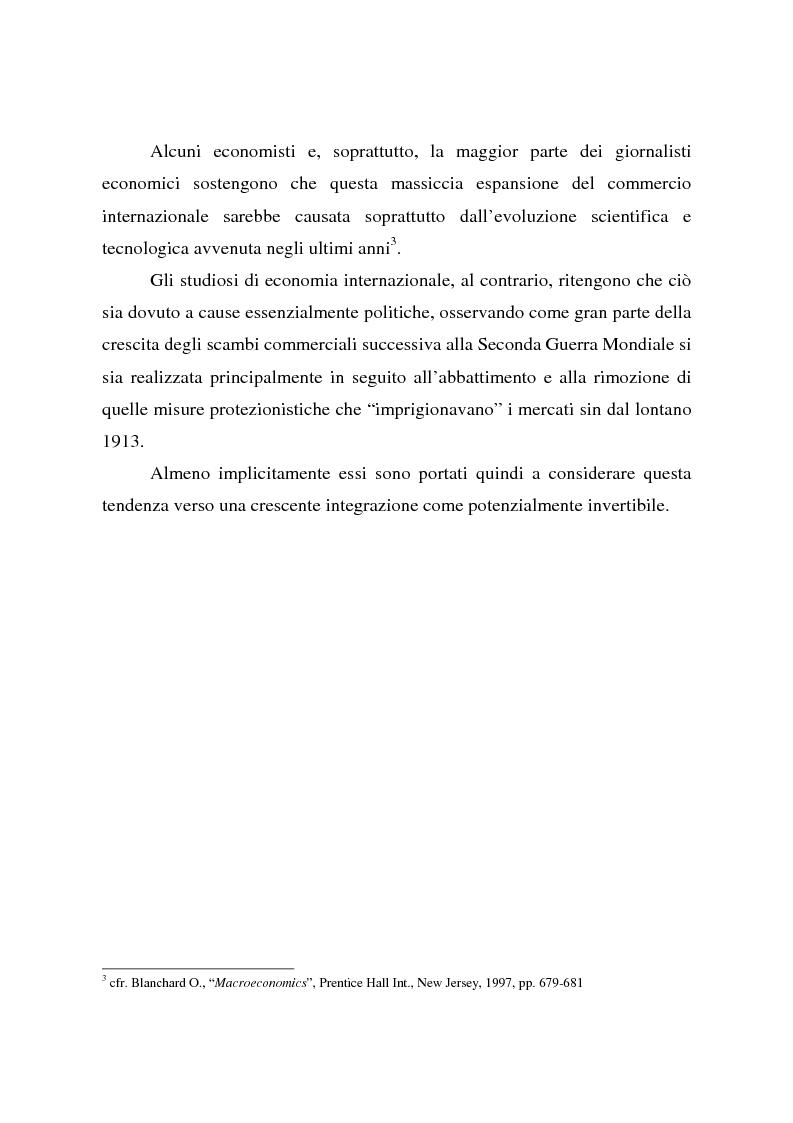 Anteprima della tesi: Effetti della globalizzazione dei mercati sul livello occupazionale dei paesi industrializzati: l'ipotesi interpretativa di Krugman, Pagina 8