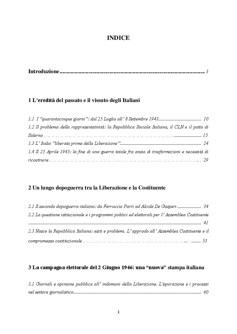 Indice della tesi: ''Monarchia o Repubblica''. Il referendum istituzionale nella stampa italiana e abruzzese del 1946, Pagina 1