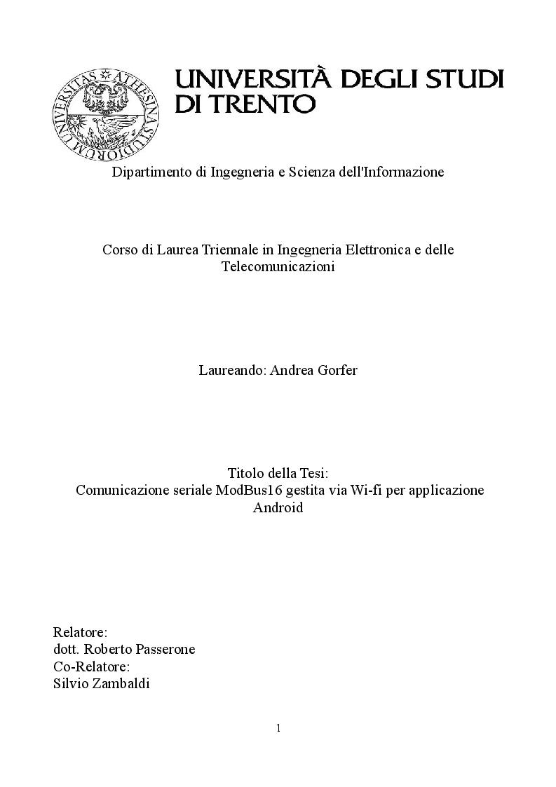 Anteprima della tesi: Comunicazione seriale ModBus16 gestita via Wi-fi per applicazione Android, Pagina 1