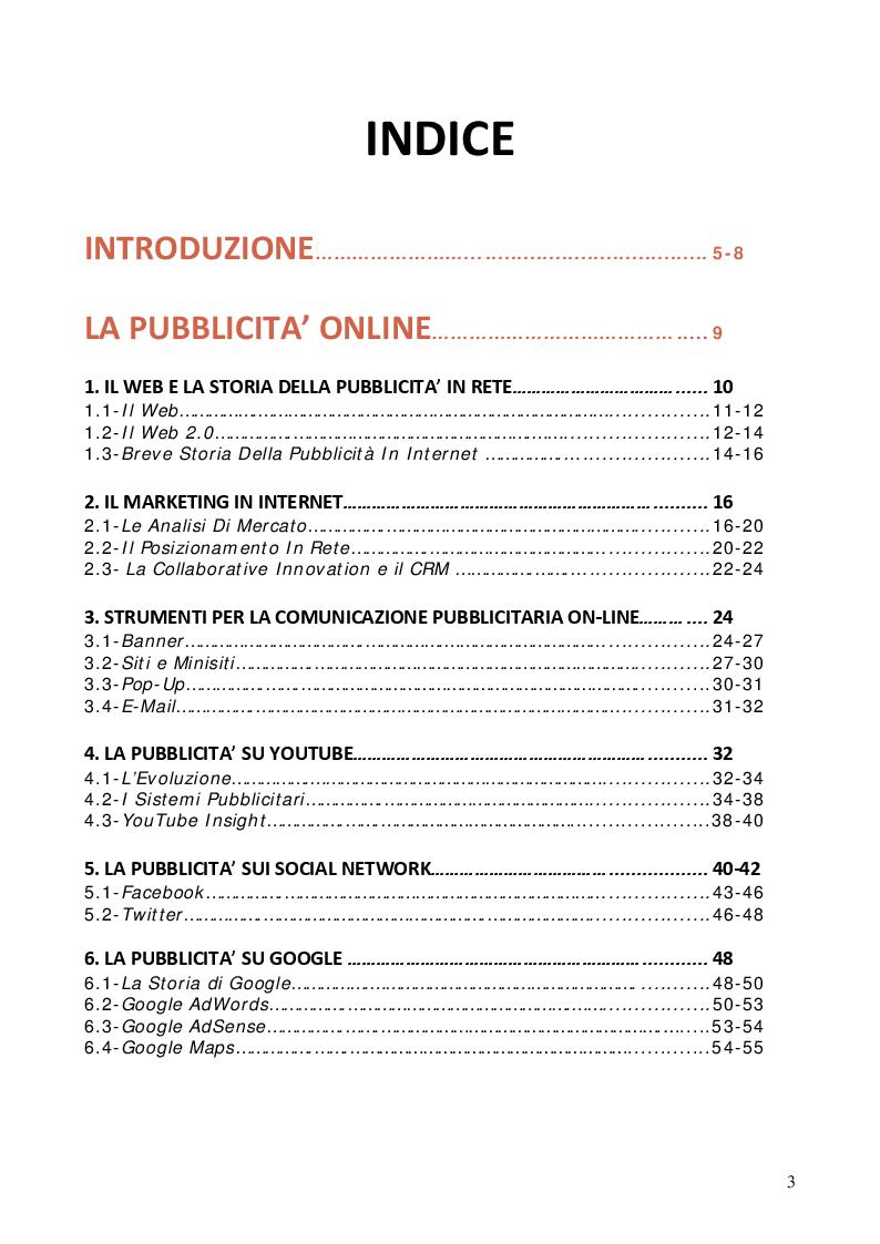 Indice della tesi: La pubblicità online: un'analisi grafica, Pagina 1