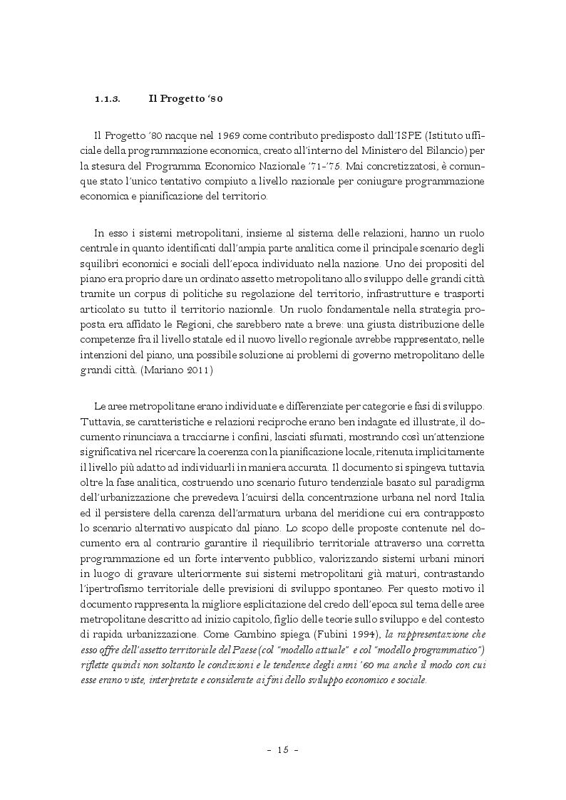 Estratto dalla tesi: La città metropolitana nella pianificazione e nel governo del territorio