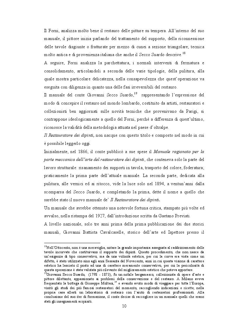 Estratto dalla tesi: La storia degli interventi di restauro sui dipinti mobili in Italia tra il 1908 e il 1924.