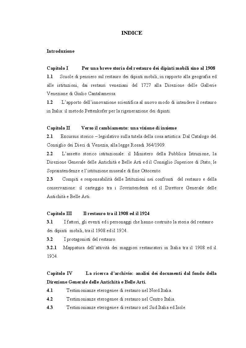 Indice della tesi: La storia degli interventi di restauro sui dipinti mobili in Italia tra il 1908 e il 1924., Pagina 1