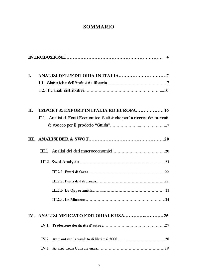 Indice della tesi: Guida ai migliori vini italiani: progetto editoriale rivolto ai mercati esteri, Pagina 1