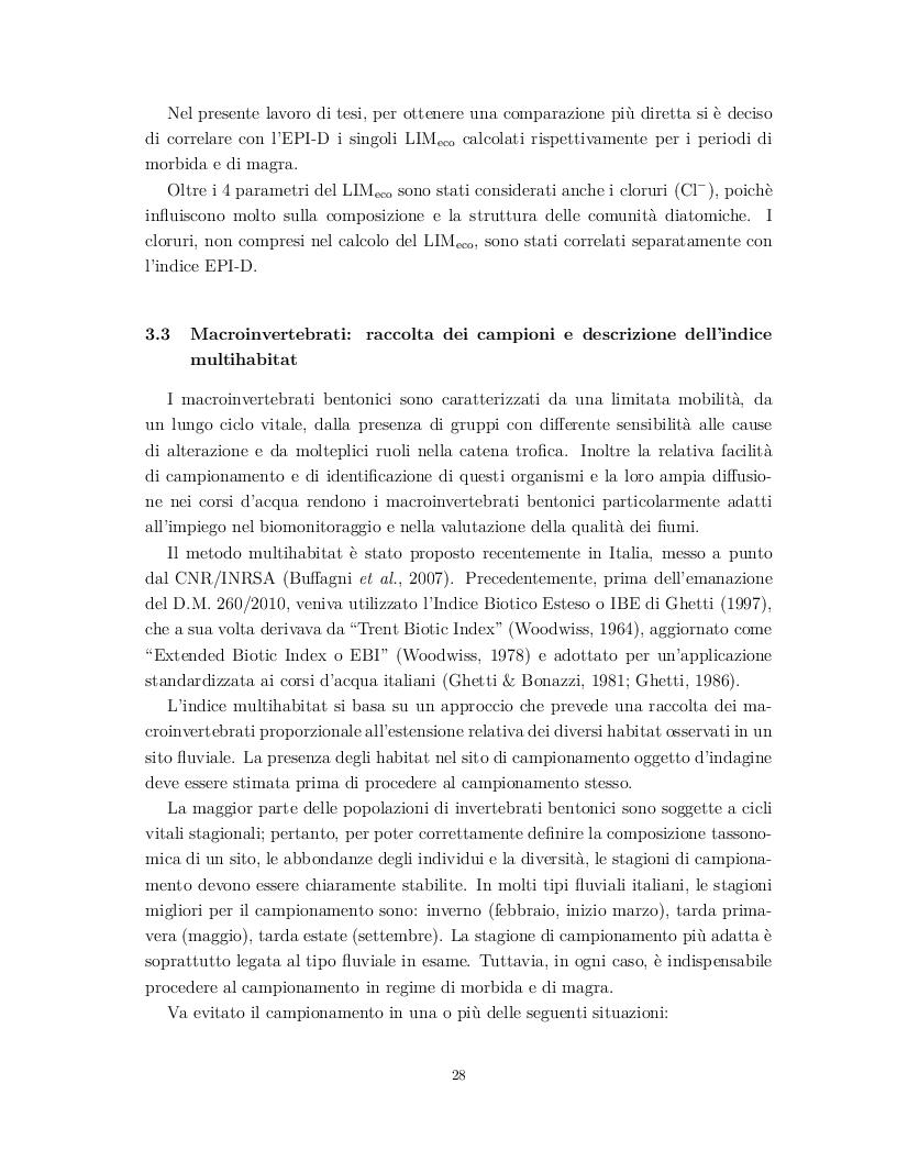 Estratto dalla tesi: Valutazione dello stato ecologico del bacino idrografico del fiume Musone (Marche) mediante applicazione di indici biotici (diatomee e macroinvertebrati) e chimici (LIMeco)