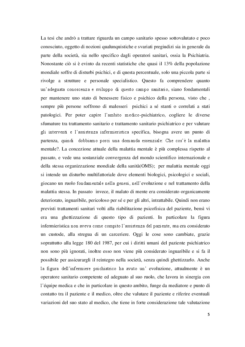 Il ruolo dell'infermiere nell'assistenza al paziente psichiatrico in fase acuta: emergenza psichiatrica e SPDC - Tesi di...