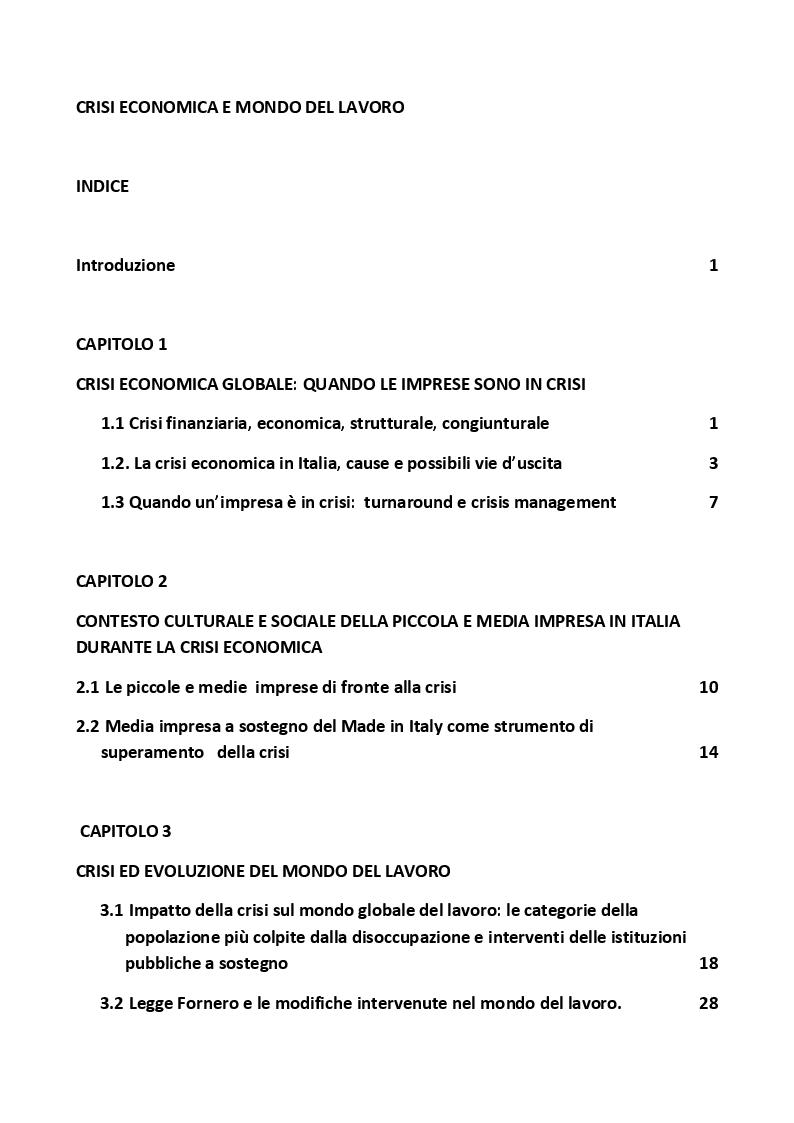 Indice della tesi: Crisi Economica e Mondo del Lavoro, Pagina 1