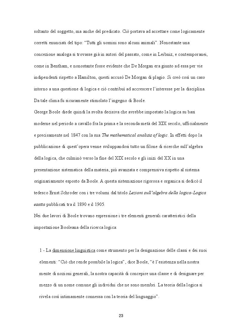 Estratto dalla tesi: George Boole e l'Algebra Booleana - Logica e Comunicazione
