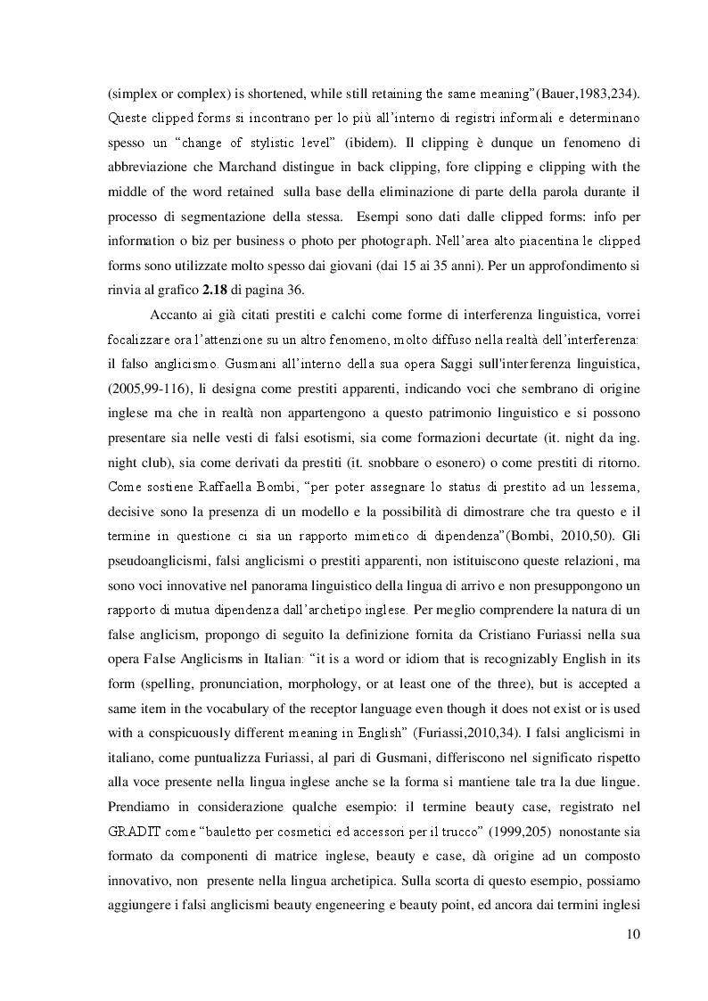 Estratto dalla tesi: Influenza del lessico inglese nella lingua parlata dagli abitanti dell'alto piacentino