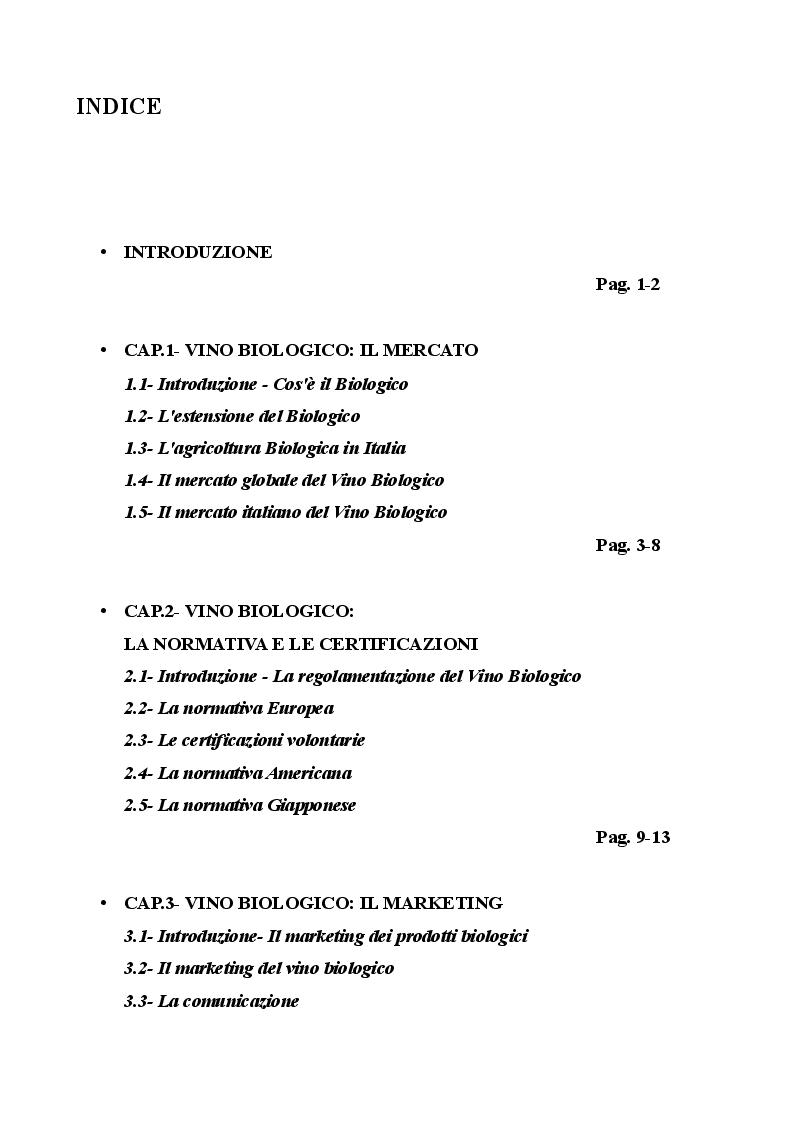 Indice della tesi: Il mercato del vino biologico: Il caso Supèrbio, Pagina 1