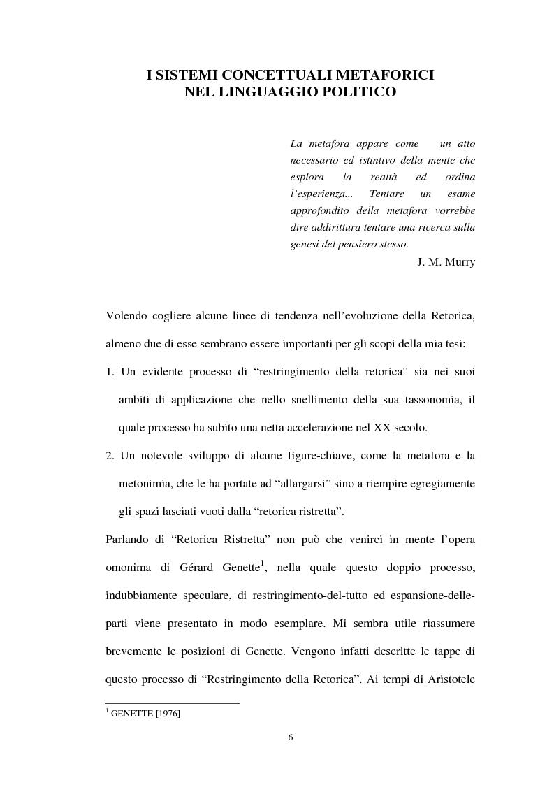 Anteprima della tesi: I sistemi metaforici concettuali nella politica contemporanea, Pagina 1