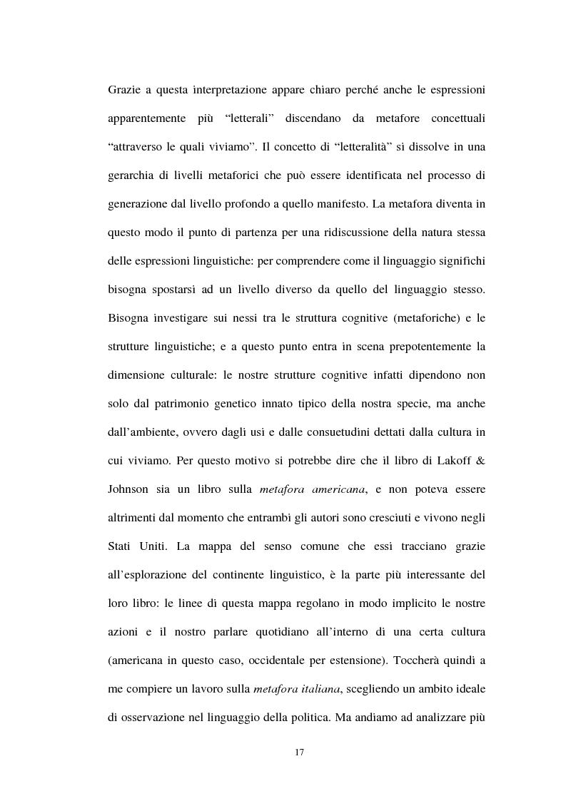 Anteprima della tesi: I sistemi metaforici concettuali nella politica contemporanea, Pagina 12
