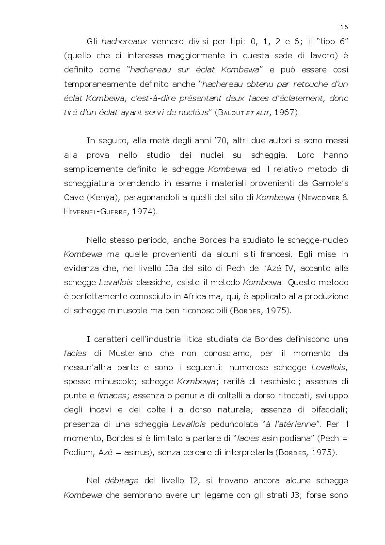 """Estratto dalla tesi: Il significato del débitage """"Kombewa"""" nel Paleolitico medio:  analisi tecno-economica dei materiali litici provenienti da Riparo Tagliente (VR), Carapia (RA), Podere Camponi (BO) e Fossato Conca d'Oro (MT)."""