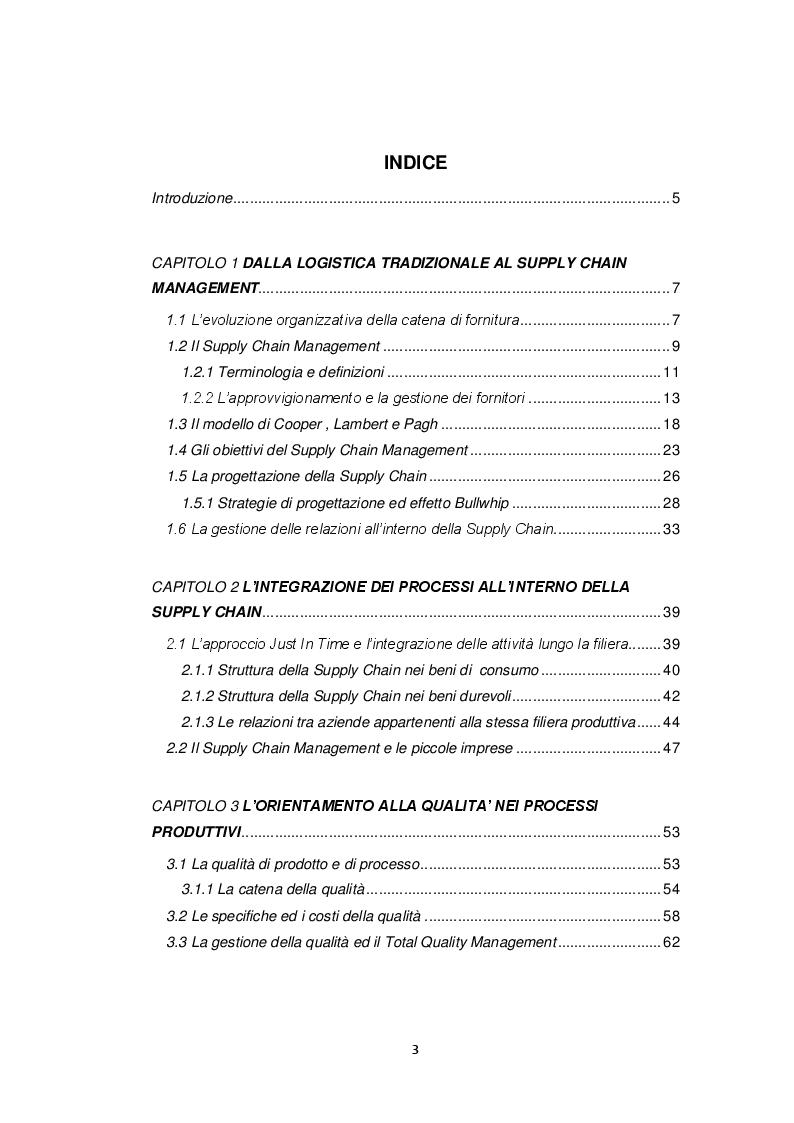 Indice della tesi: L'orientamento alla qualità nella Supply Chain Agroalimentare: il caso della cooperativa ''Nuovo Cilento'', Pagina 1