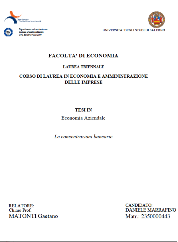 Anteprima della tesi: Le concentrazioni bancarie, Pagina 1