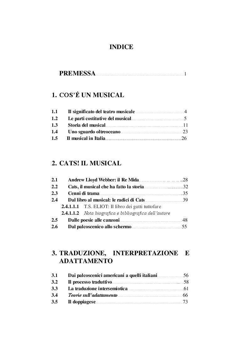 Indice della tesi: Cats! Il musical - Traduzione e adattamento musicale, Pagina 1