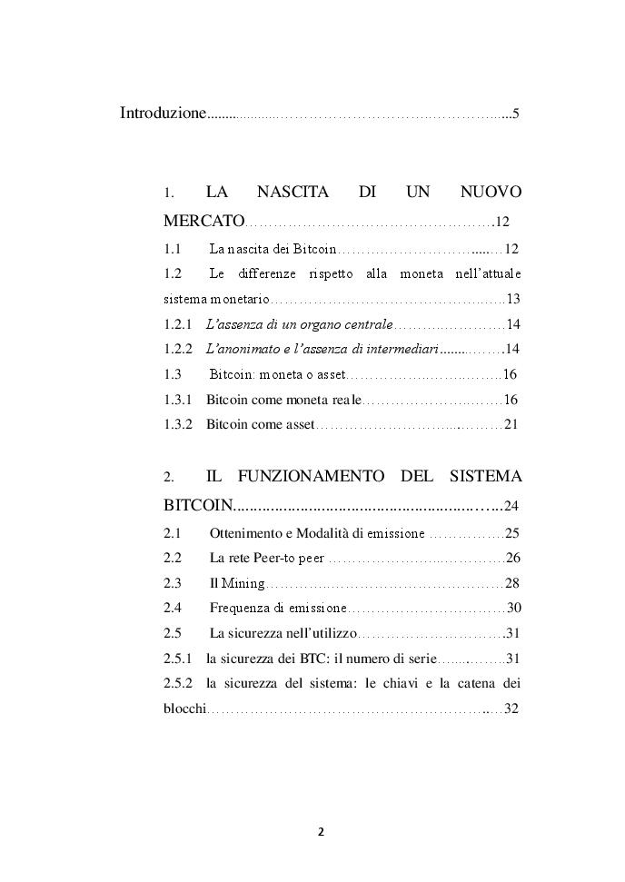 Indice della tesi: L'avvento e l'analisi dei Bitcoin: la moneta 2.0, Pagina 1