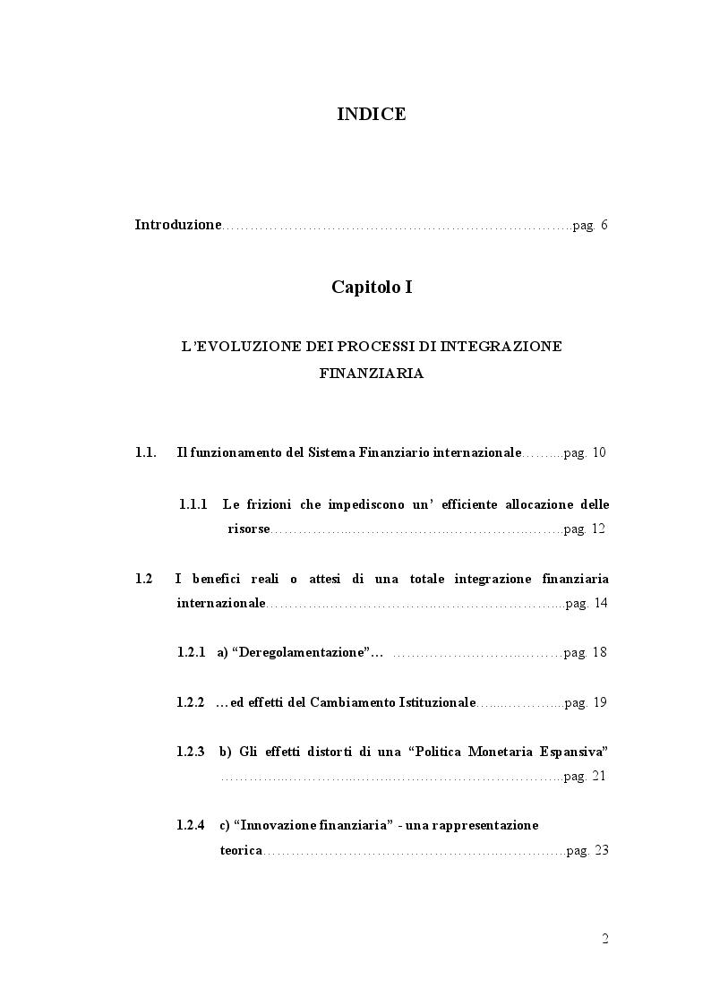 Indice della tesi: Sull'Integrazione Ottimale dei Mercati Finanziari, Pagina 1