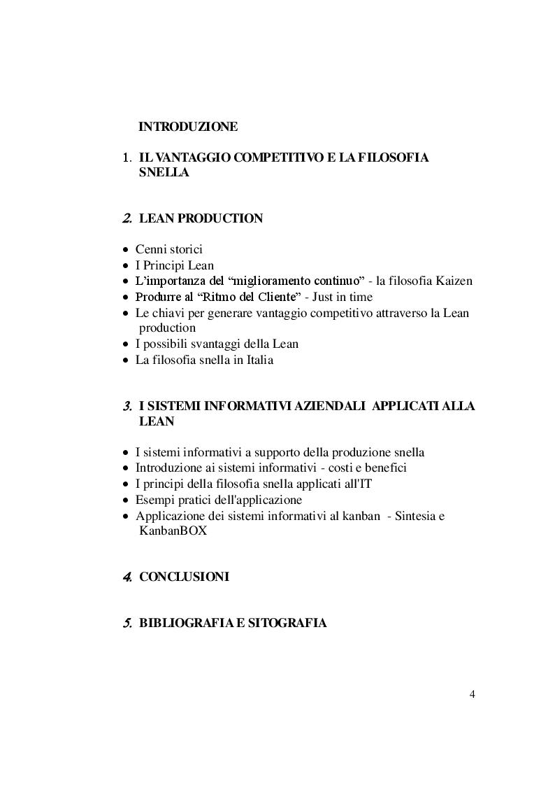 Indice della tesi: Ridisegnare il vantaggio competitivo: la Lean Production ed i Sistemi Informativi, Pagina 1