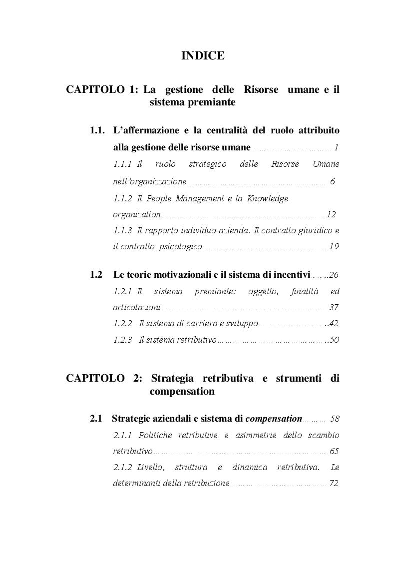 Indice della tesi: Le politiche retributive. Strategie di compensation nella gestione del personale, Pagina 1
