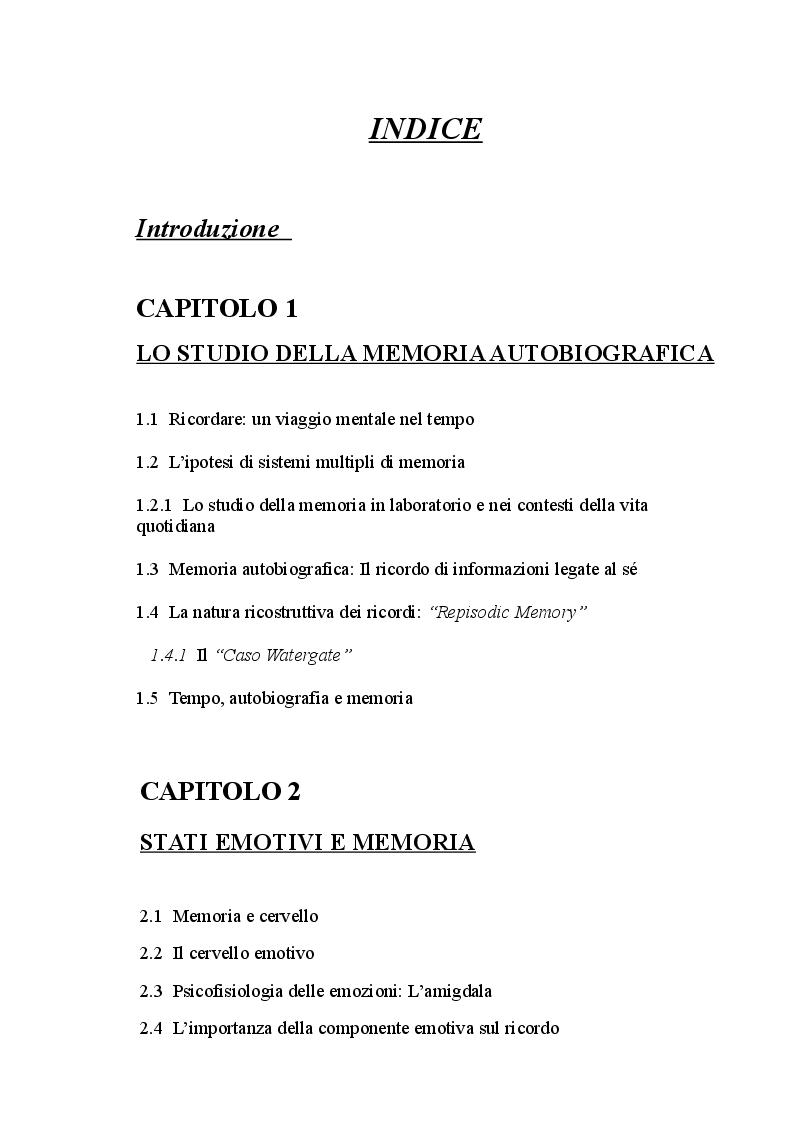 Indice della tesi: Memoria ed emozioni: Le Flashbulb memories, Pagina 1