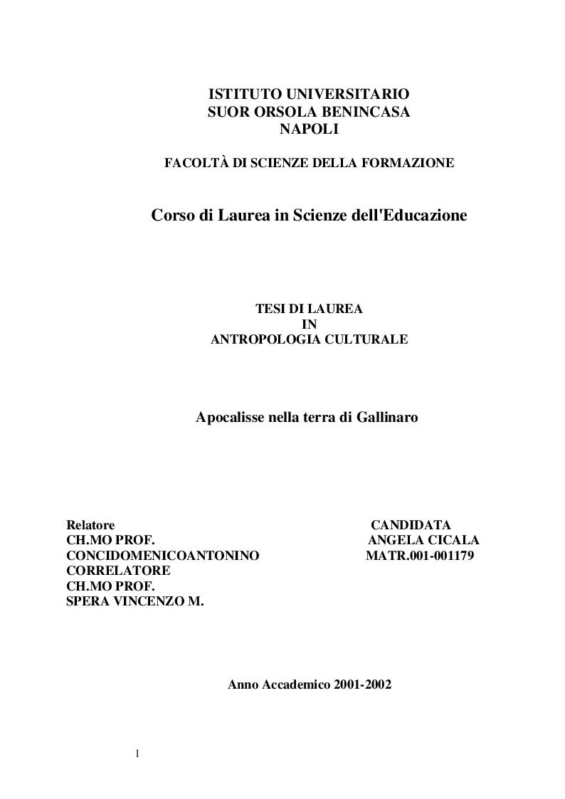 Anteprima della tesi: Apocalisse nella terra di Gallinaro, Pagina 1