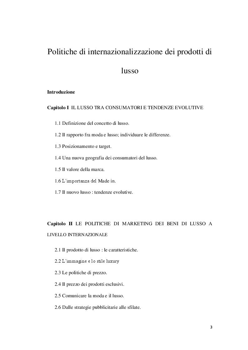 Indice della tesi: Politiche di internazionalizzazione dei prodotti di lusso, Pagina 1