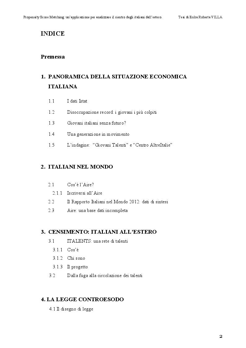 Indice della tesi: Propensity Score Matching: Un'Applicazione per Analizzare il Rientro degli Italiani dall'Estero, Pagina 1