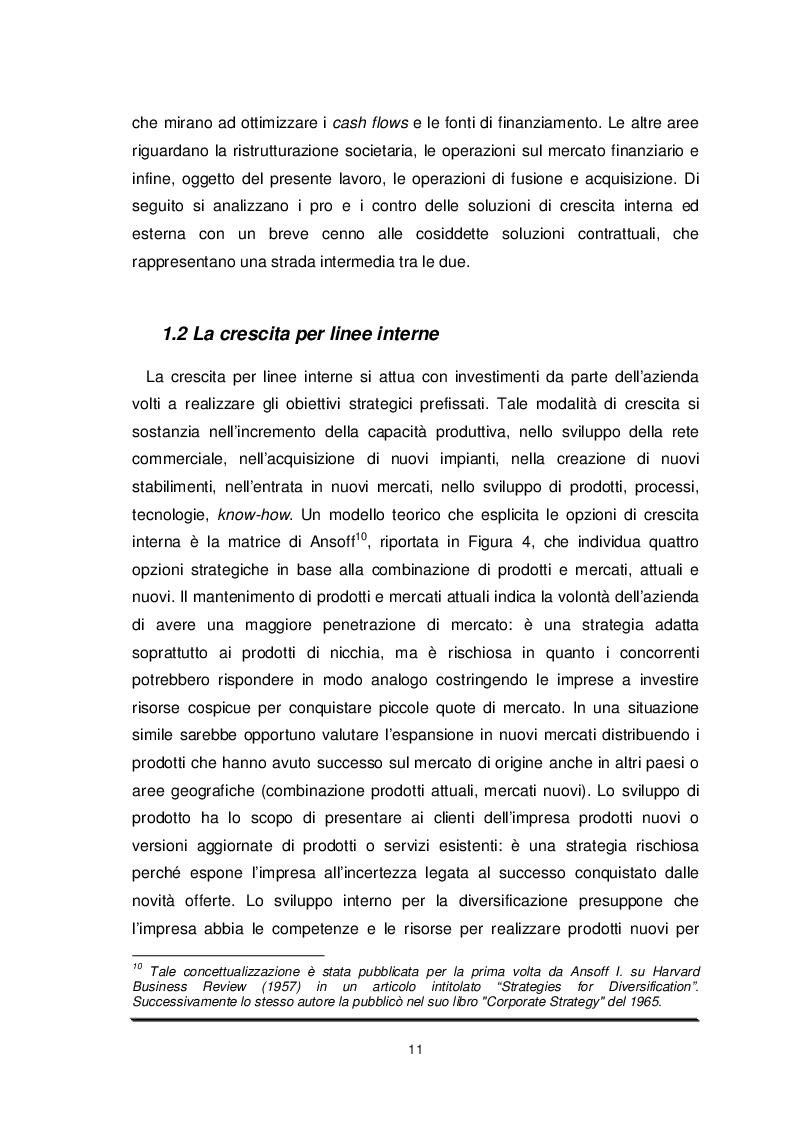 Estratto dalla tesi: Determinanti ed effetti delle M&A