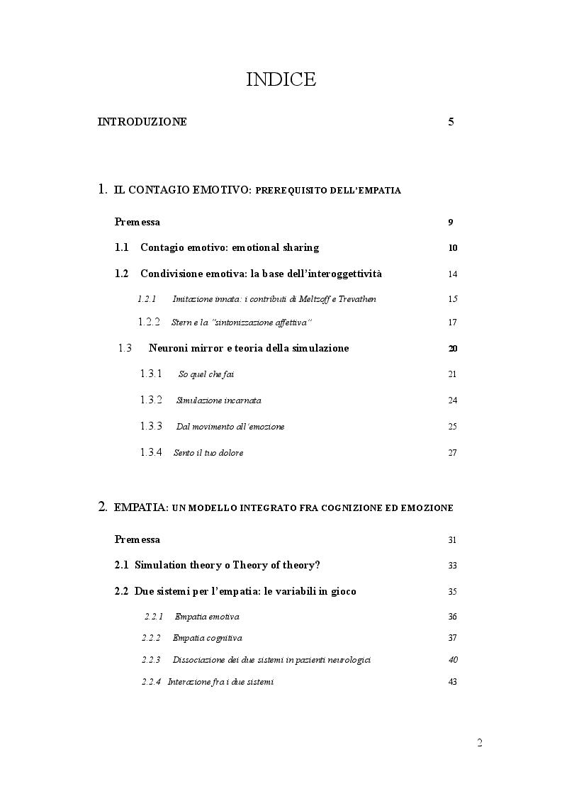 Indice della tesi: Empatia. Ruolo della giunzione temporo-parietale nella distinzione sé/altro, Pagina 1