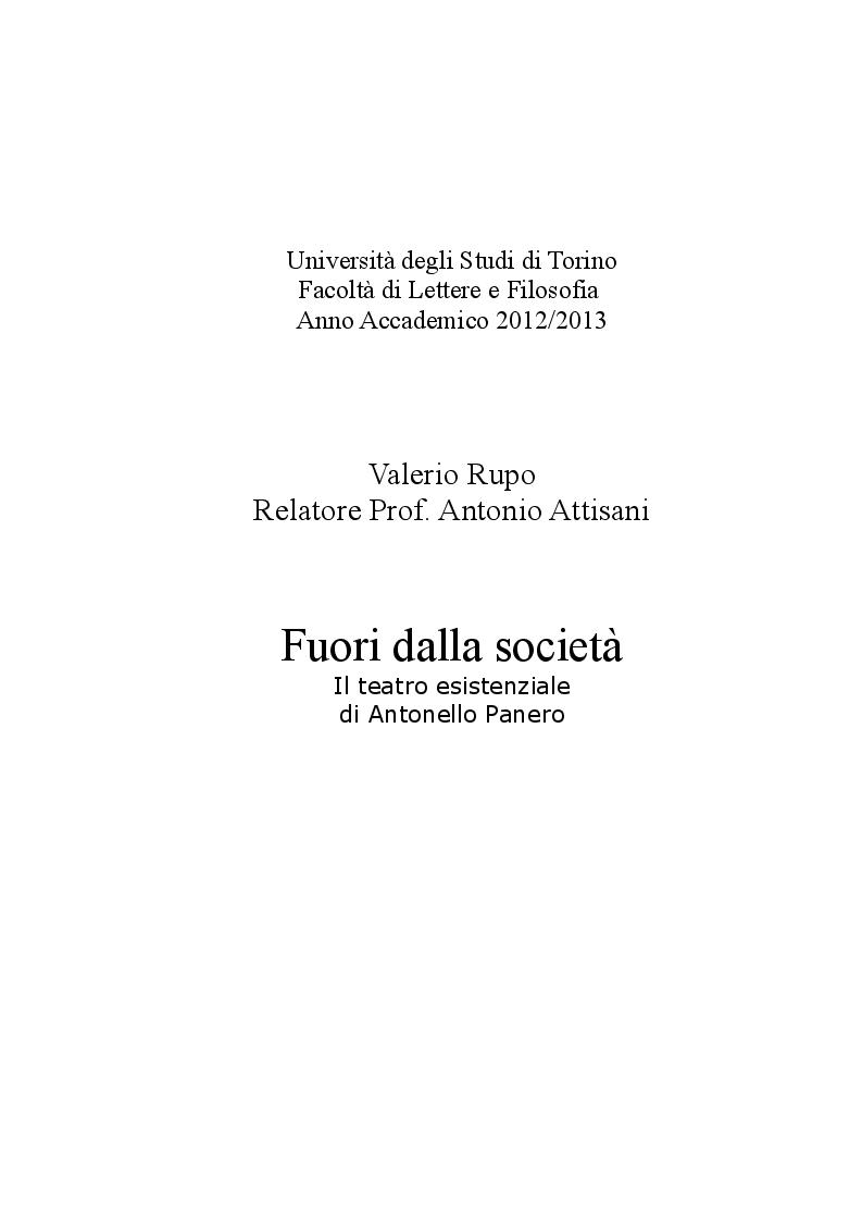 Anteprima della tesi: Fuori dalla società - Il teatro esistenziale di Antonello Panero, Pagina 1