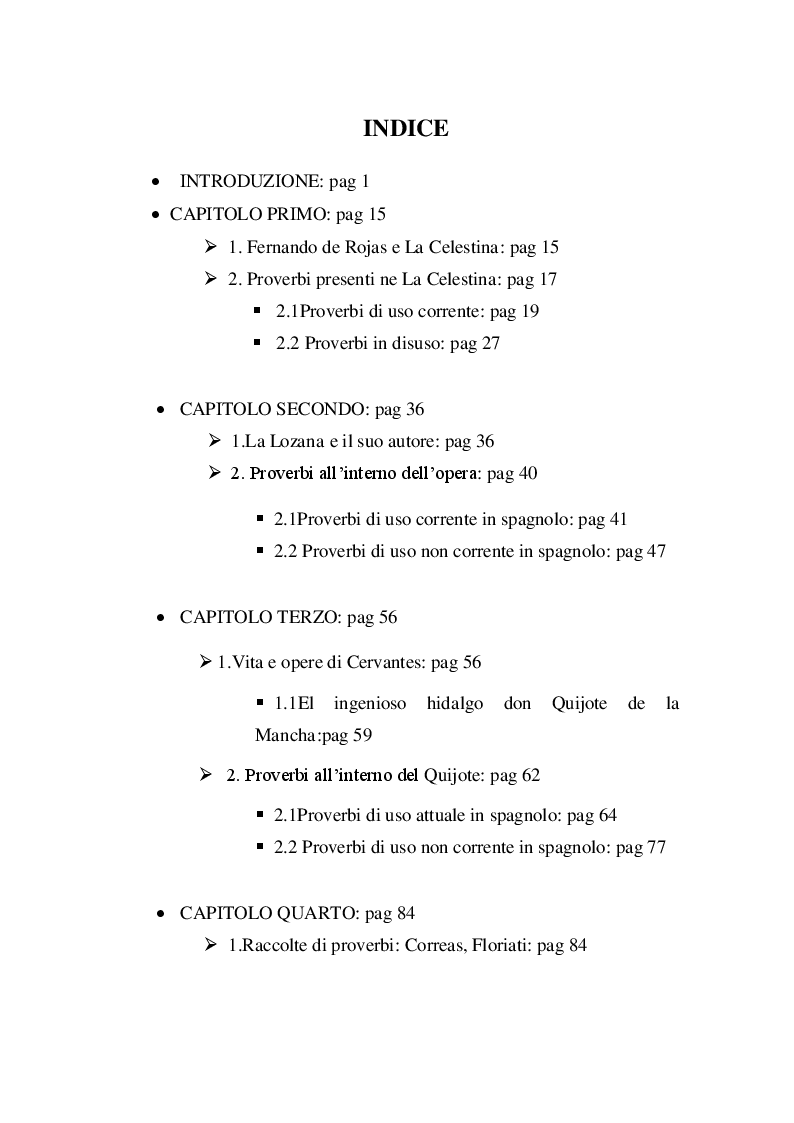 Indice della tesi: La paremiologia nella letteratura spagnola del ''Siglo de Oro'', Pagina 1