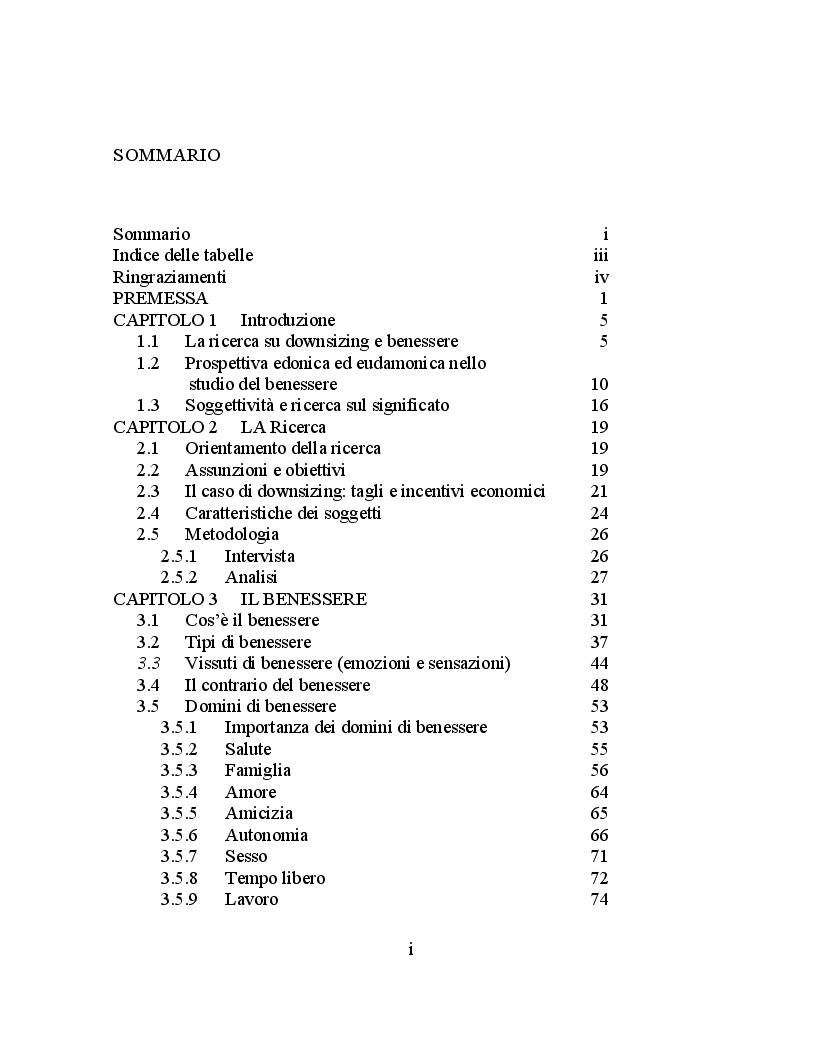 Indice della tesi: L'impatto del downsizing sull'esperienza del benessere: una ricerca qualitativa, Pagina 1