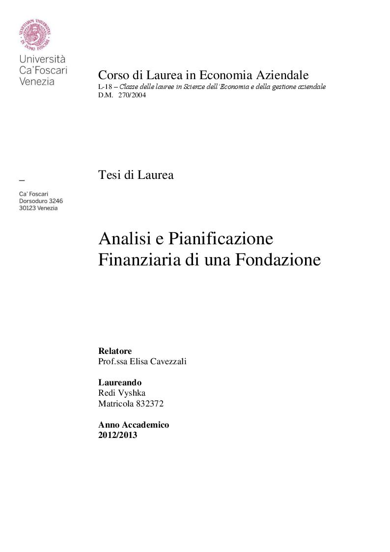 Anteprima della tesi: Analisi e pianificazione finanziaria di una fondazione, Pagina 1