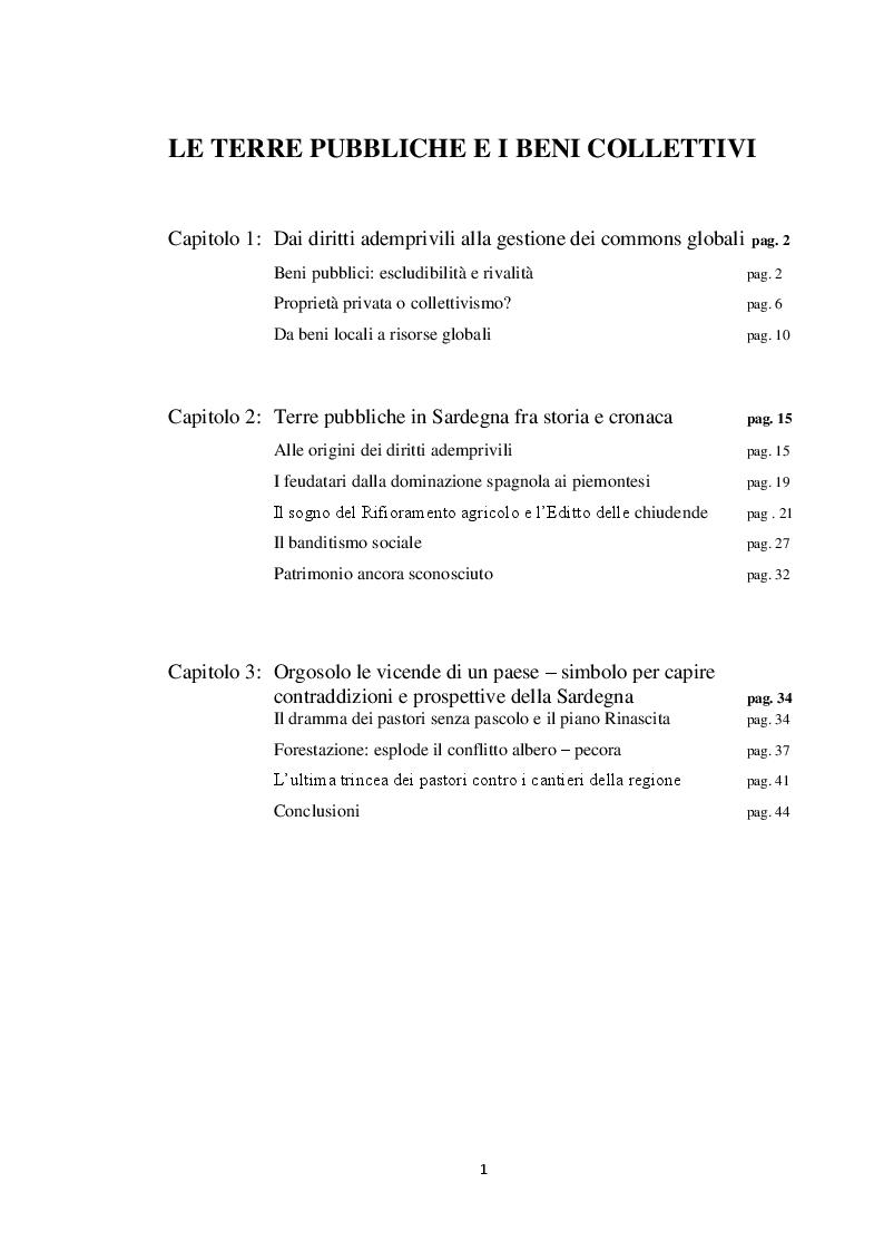 Indice della tesi: Le terre pubbliche e i beni collettivi, Pagina 1