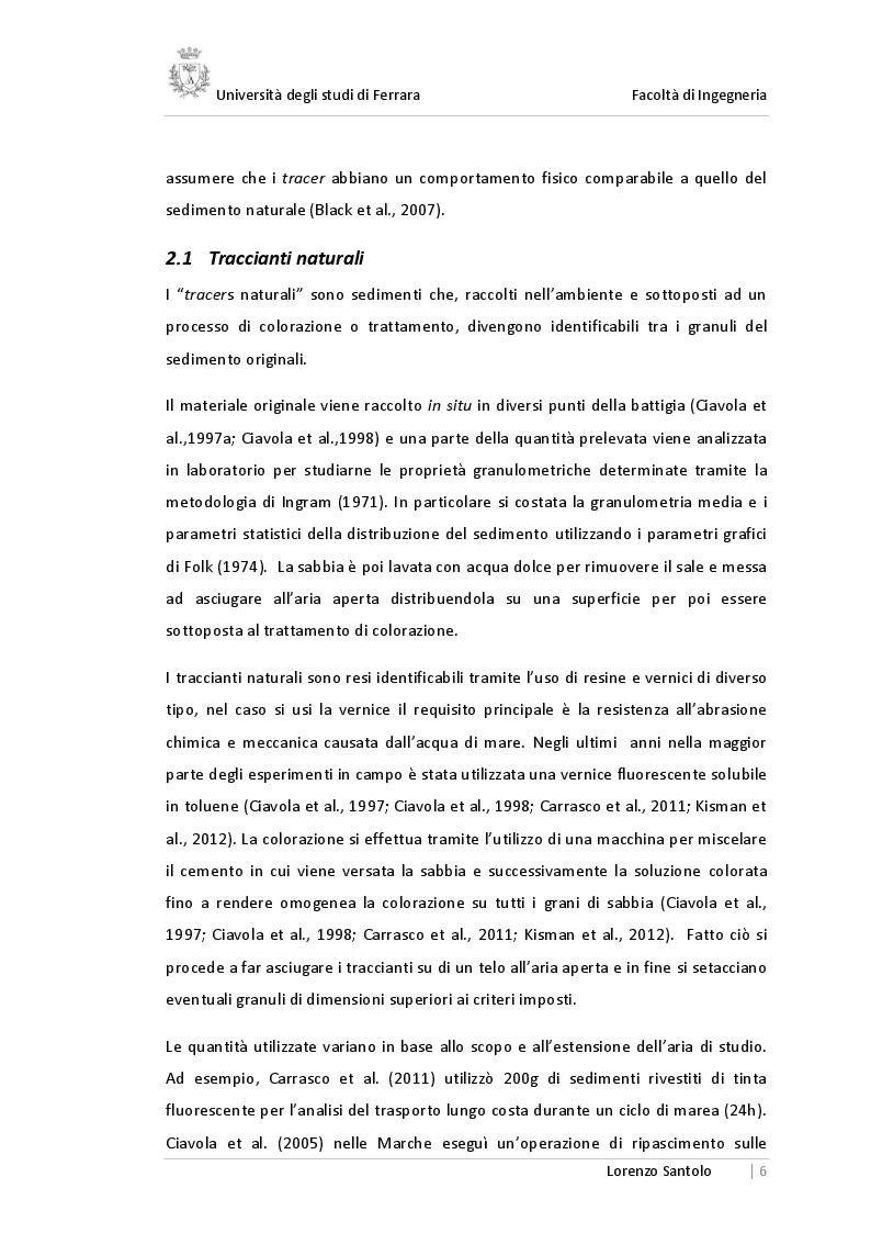 Estratto dalla tesi: La tecnica dei traccianti per l'individuazione del trasporto sedimentario nell'ingegneria idraulica costiera