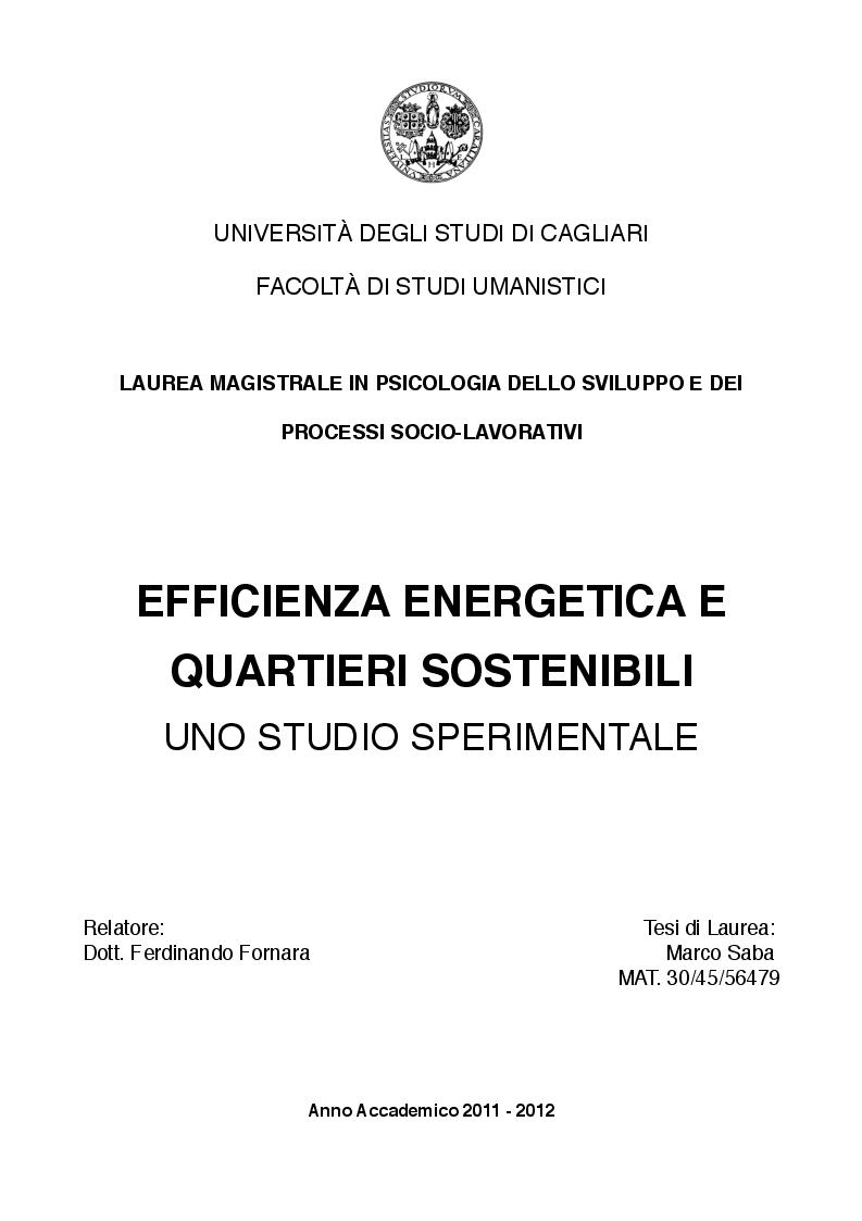 Anteprima della tesi: Efficienza energetica e quartieri sostenibili. Uno studio sperimentale., Pagina 1