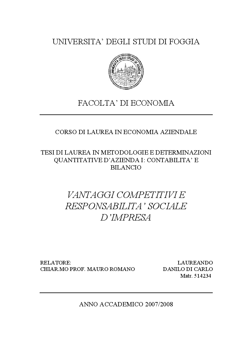Anteprima della tesi: Vantaggi Competitivi e Responsabilità Sociale d'Impresa, Pagina 1