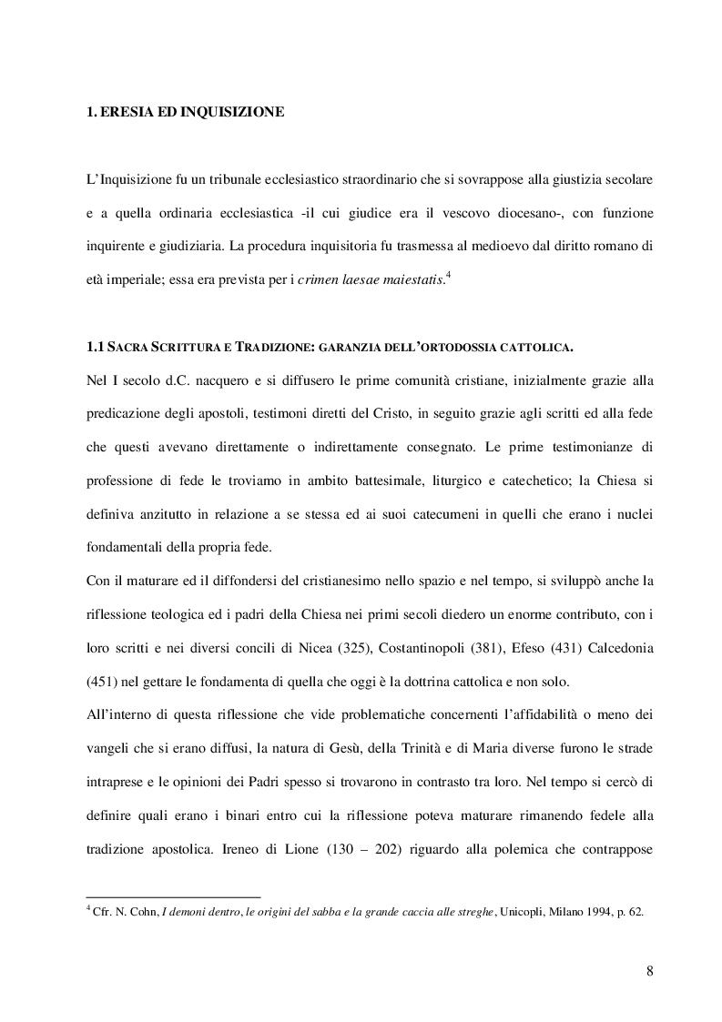 Anteprima della tesi: Inquisizione e stregoneria: l'instructio pro formandis processibus in causis strigum, sortilegiorum et maleficiorum, Pagina 4