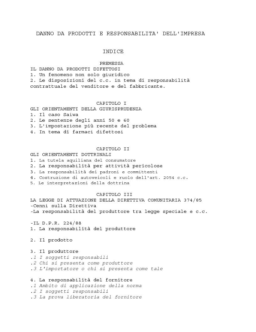 Indice della tesi: Danno da prodotto e responsabilità dell'impresa, Pagina 1