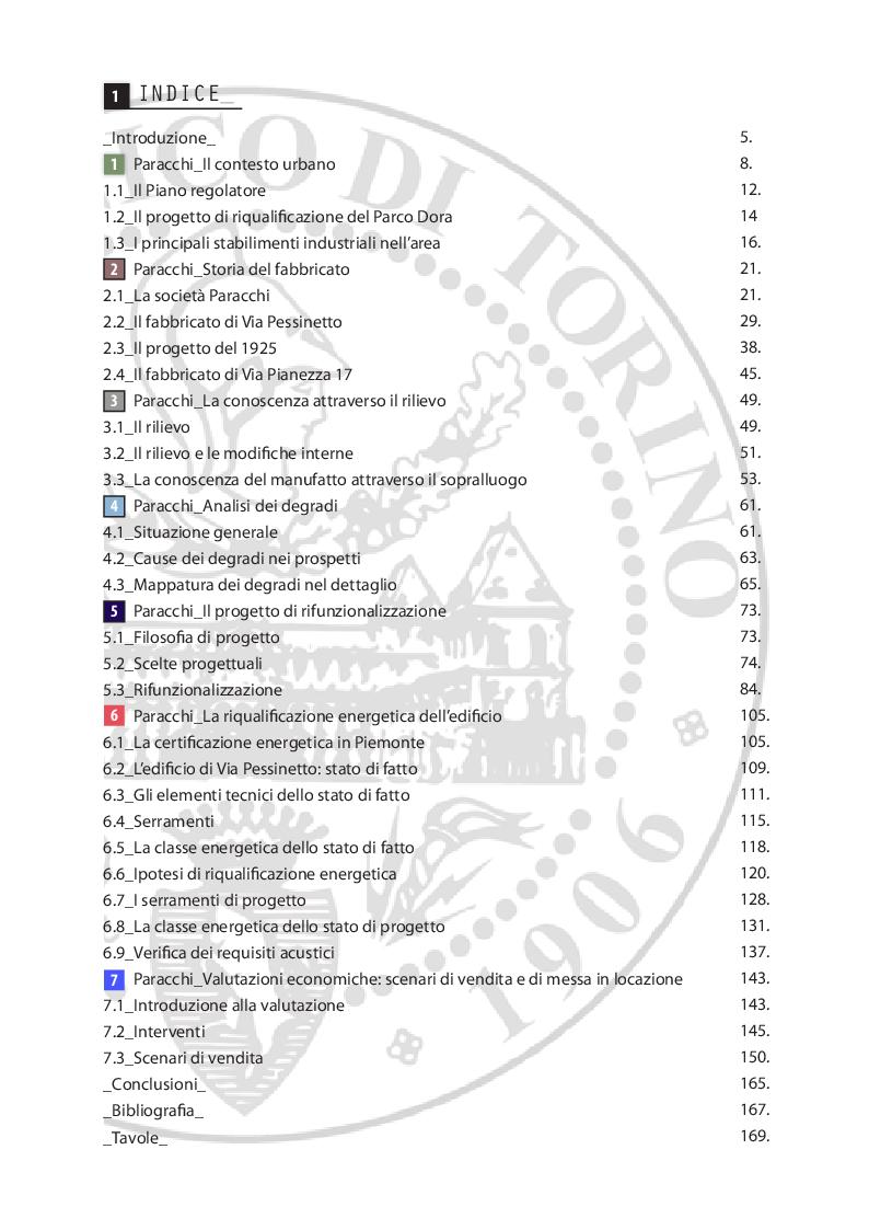 Indice della tesi: La Manifattura Paracchi a Torino: progetto di rifunzionalizzazione. Sostenibilità, riqualificazione nergetica e fattibilità economica., Pagina 1