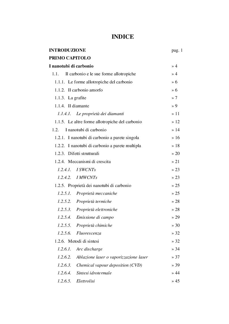 Indice della tesi: Adsorbimento di coloranti azotati da acque di scarico industriale mediante nanotubi di carbonio, Pagina 1